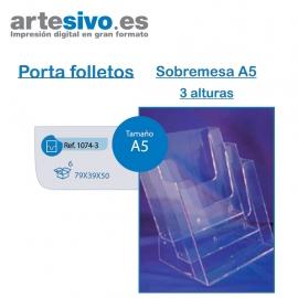 PORTAFOLLETOS METACRILATO SOBREMESA A5 - 3 ALTURAS
