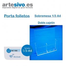 PORTAFOLLETOS METACRILATO SOBREMESA 1/3 DE A4 - DOBLE CAJETÍN