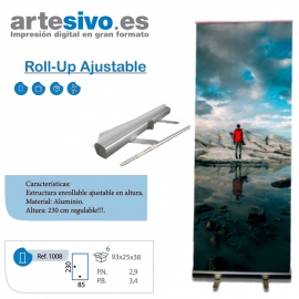 ROLL UP / ENROLLABLE. ANCHO 85 CM. ALTURA REGULABLE: MIN. 100 CM. / MAX. 230 CM.