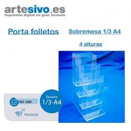 PORTAFOLLETOS METACRILATO SOBREMESA 1/3 DE A4 - 4 ALTURAS