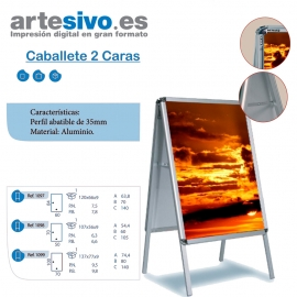 CABALLETE DOBLE CARA DE ALUMINIO - VARIAS MEDIDAS