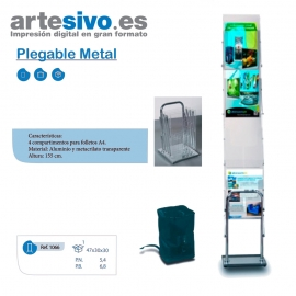 PORTAFOLLETOS PLEGABLE METAL - CAJETÍN TAMAÑO A4 - ALTO 155 CM