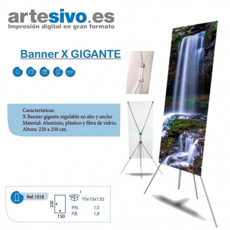 X- BANNER GIGANTE DE 120 -150 ANCHURA X 220 - 250 ALTURA EXTENSIBLE